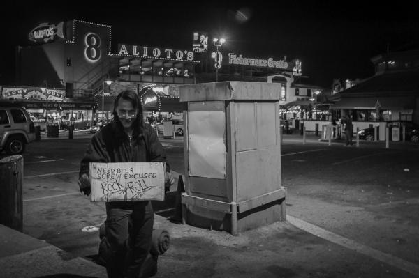 Homeless man at Fisherman's Wharf, San Francisco
