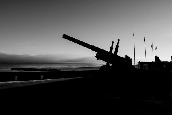 Gun overlooking Gold Beach in Normandy