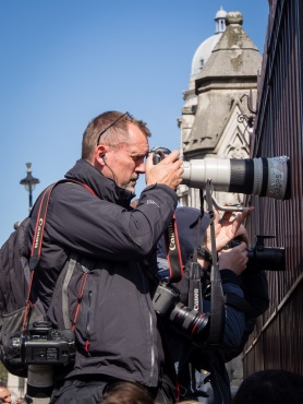 A paparazzo at the Houses of Parliament, London
