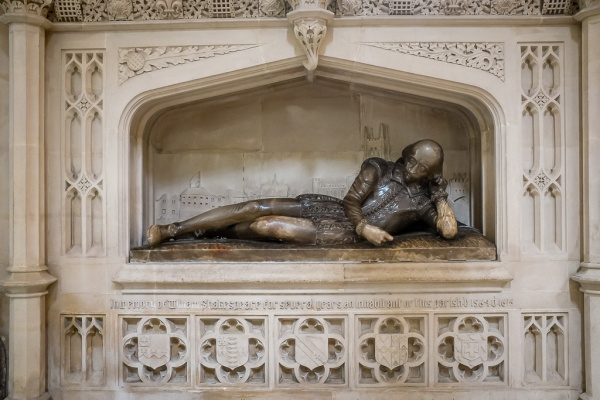 A memorial to William Shakespeare inside Southwark Cathedral. Shakespeare is believed to have been a parishioner for a number of years