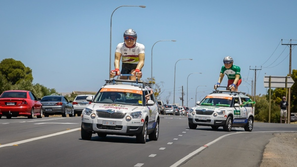 The 'Tour Parade' vehicle travel about 30 minutes ahead of the race leaders in the SANTOS Tour Down Under